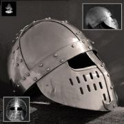 Crusader Spangenhelm With Face Guard - 14 Gauge